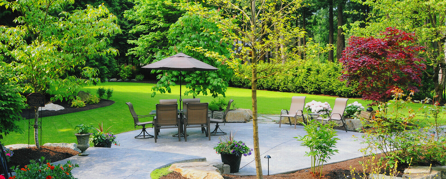 backyard patio with patio furniture, green grass and trees