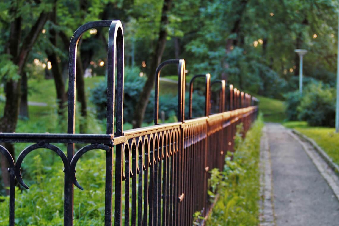 black metal fence