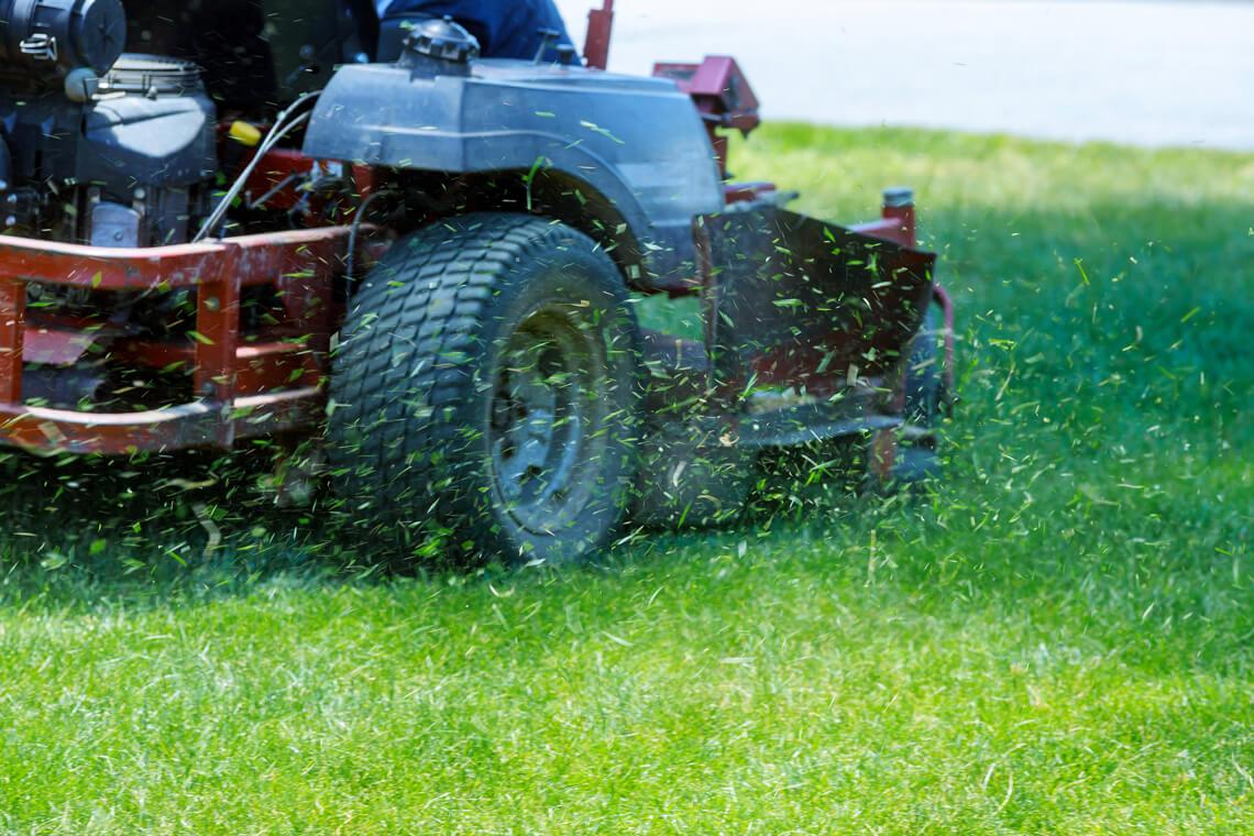 lawn mower going cutting green grass
