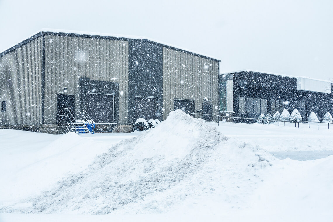 snow storm in front of commercial building