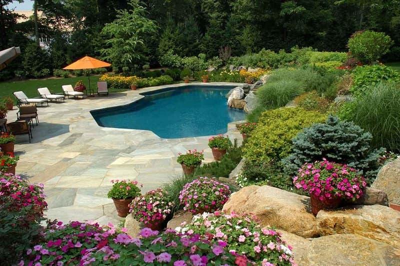 decorative pavers next to pool